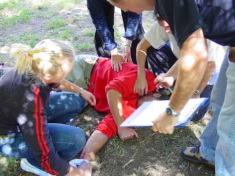 First Aid training - assessing an injured patient