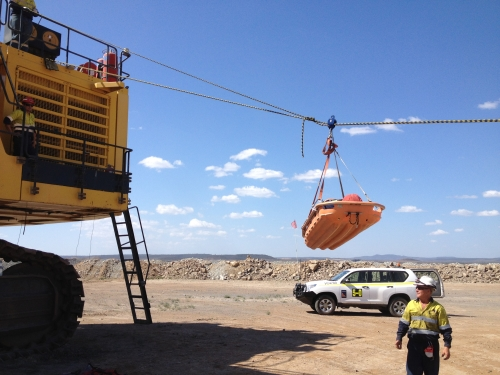 Ropes rescue at a mine site