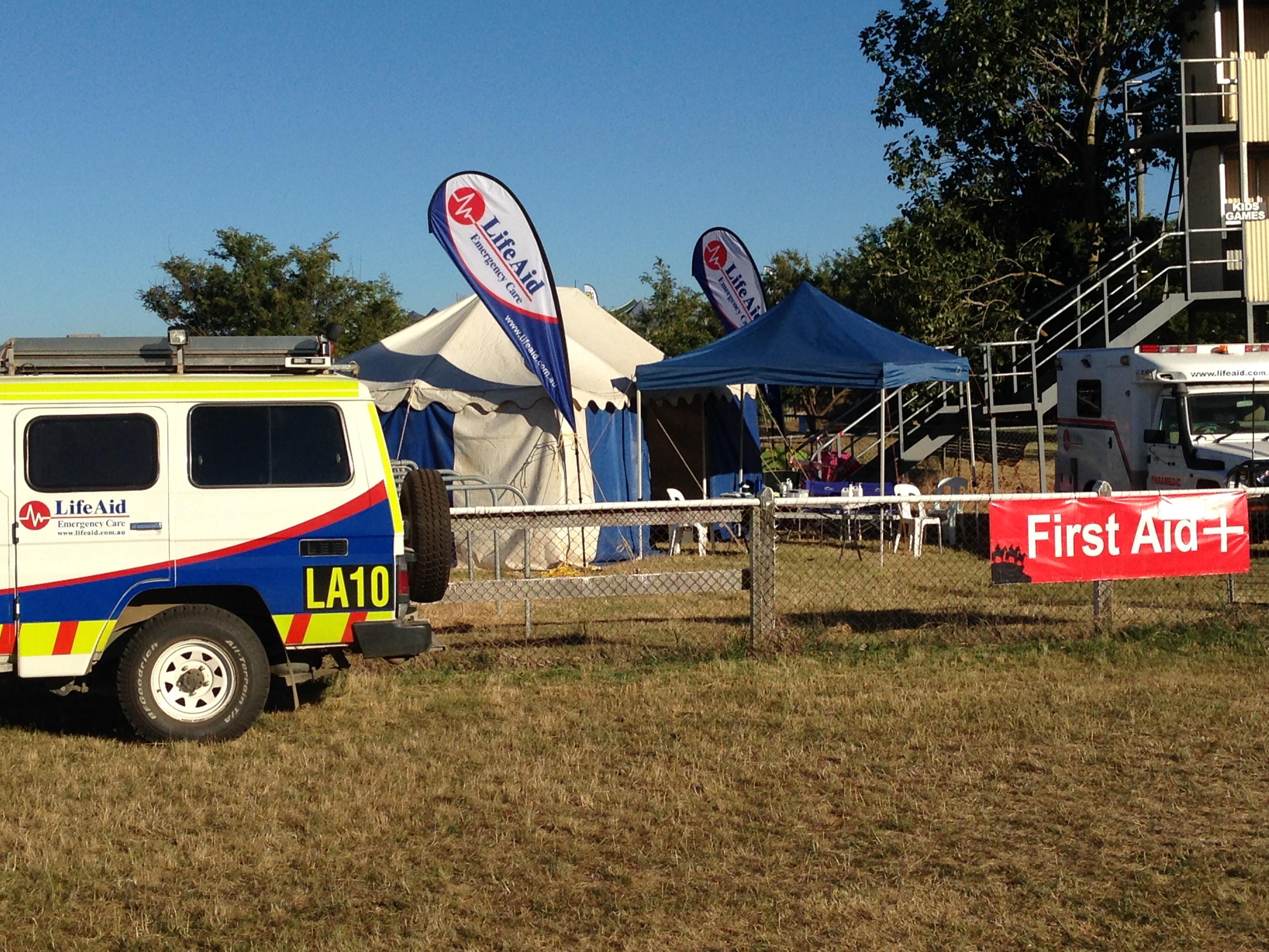 LifeAid onsite first aid setup