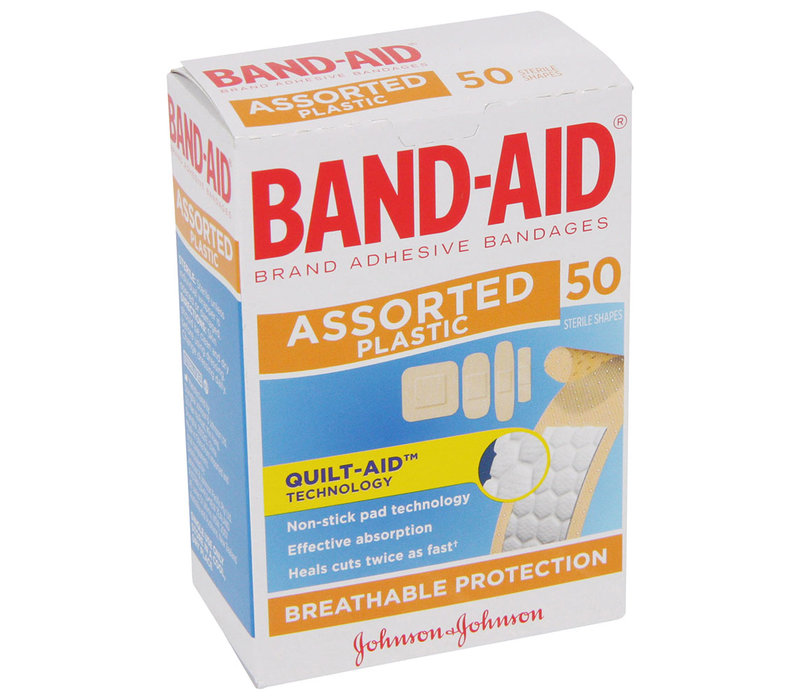 Bandaid Assorted Shapes 50 Pack